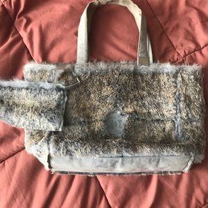 CHANEL Rabbit fur bag w/attached pouch